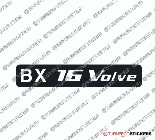 BX 16 Valve sticker - for classic Citroen BX 16 valve / 16s, 16v